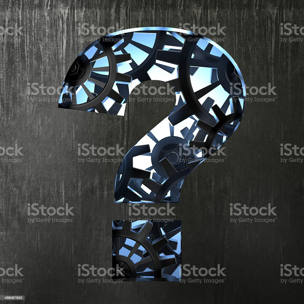 Question mark from gears stock photo