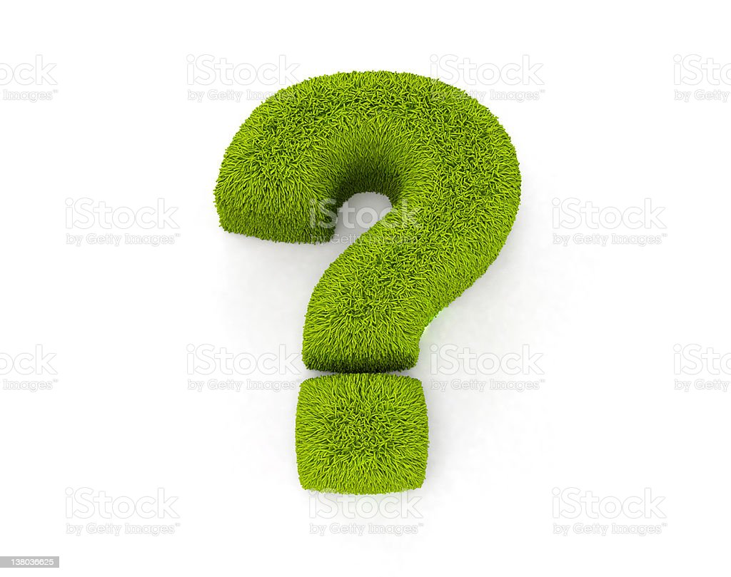 Question Mark green grass stock photo
