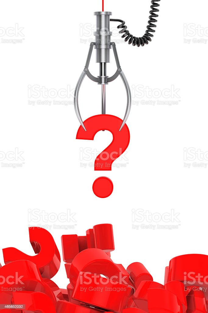 Question Mark in a Robotic Claw stock photo