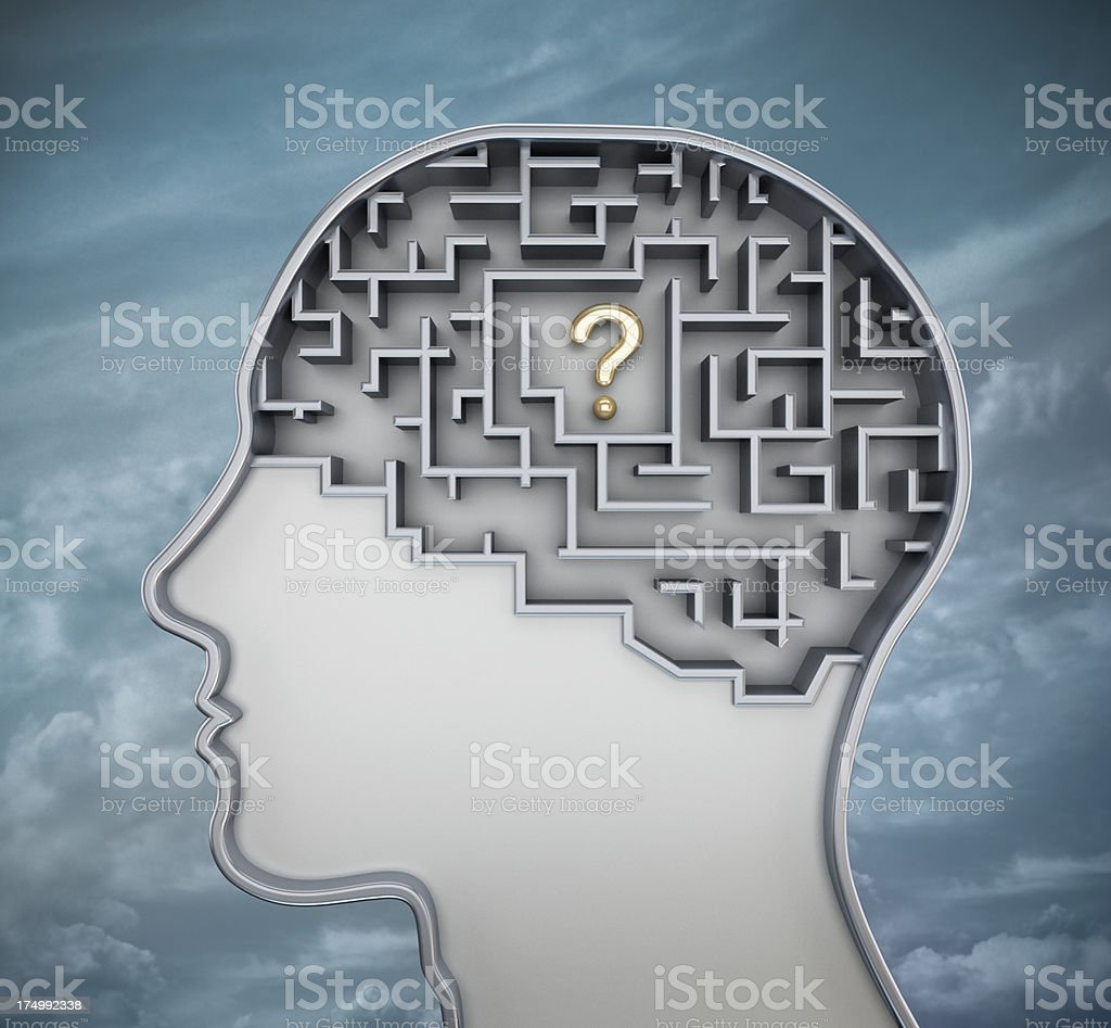Question mark in brain stock photo