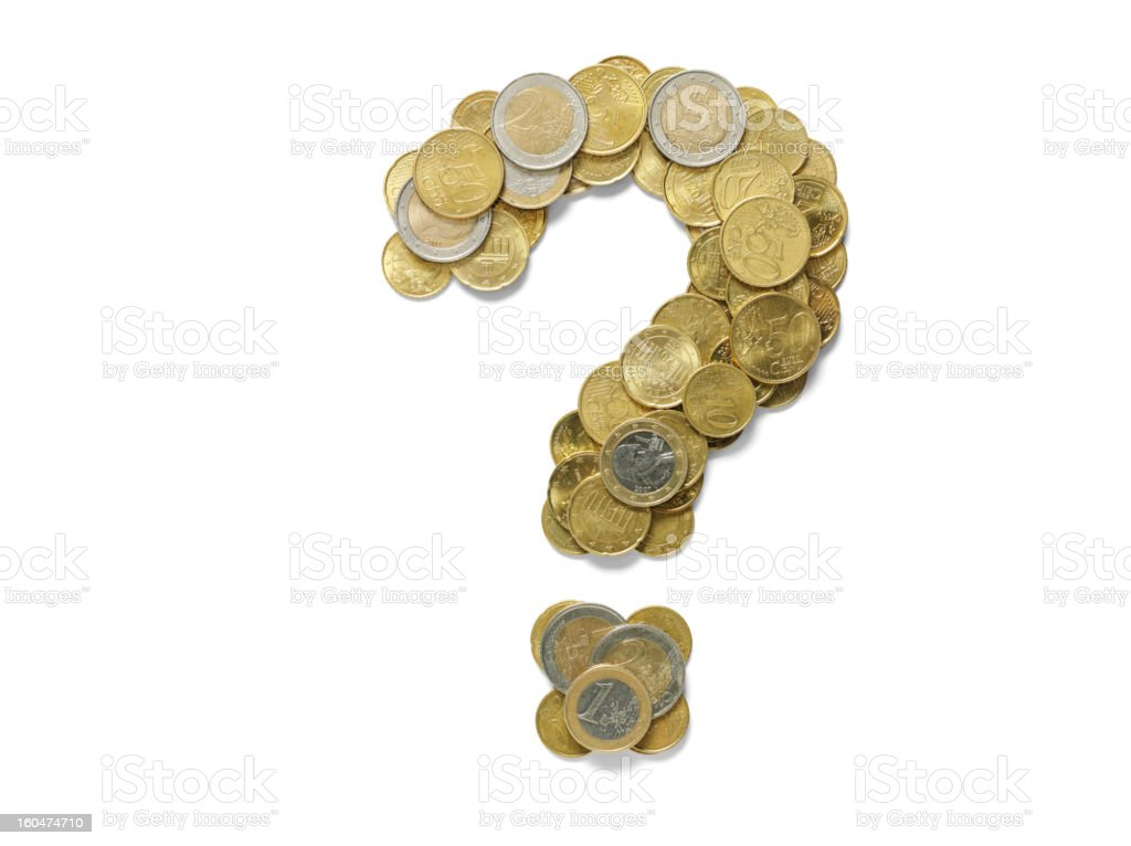 Question Mark in Euros stock photo