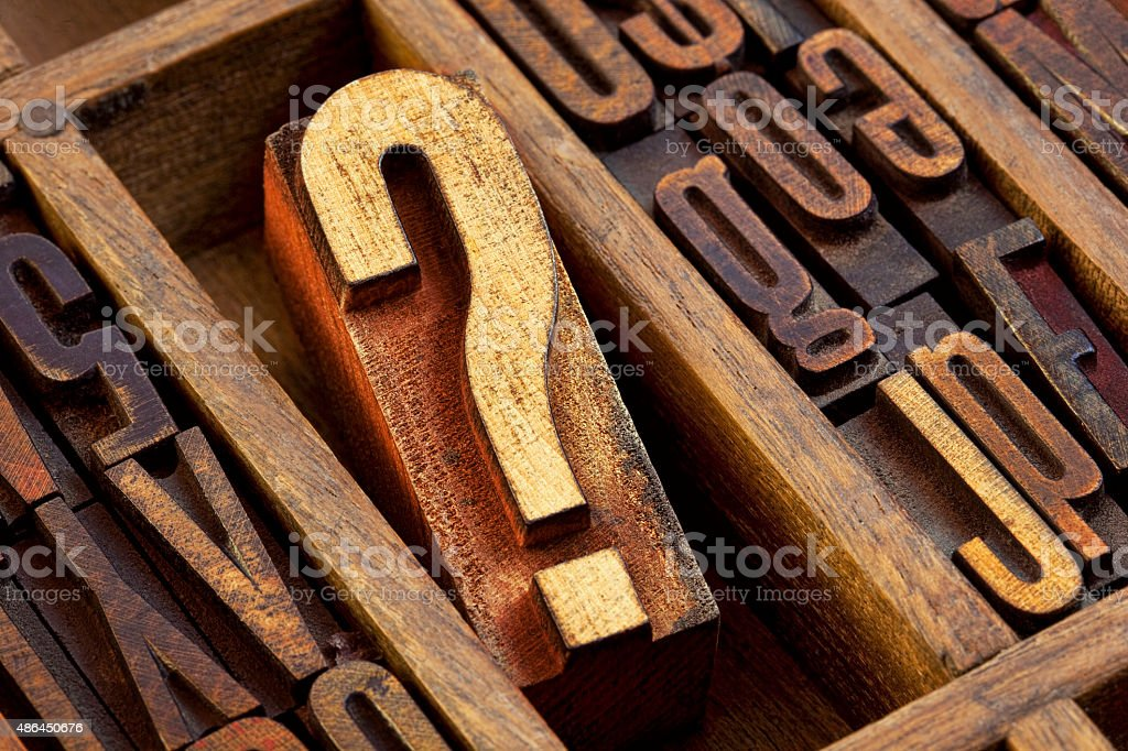 question mark in letterpress  wood type stock photo