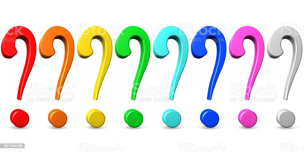 question mark interrogation point question sign 3d isolated on white background punctuation mark red orange yellow green blue pink stock photo