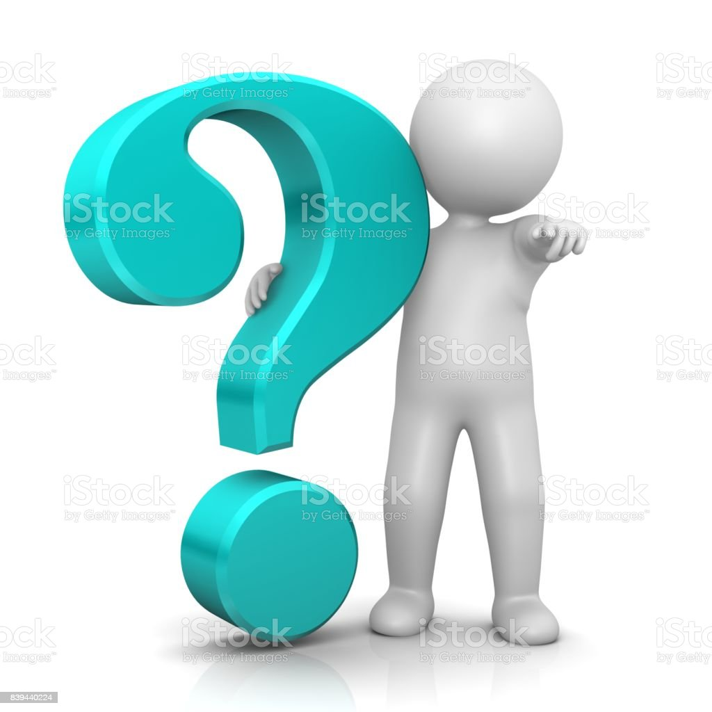question mark interrogation point turquoise cyan 3d stick man pointing at you at camera isolated stock photo