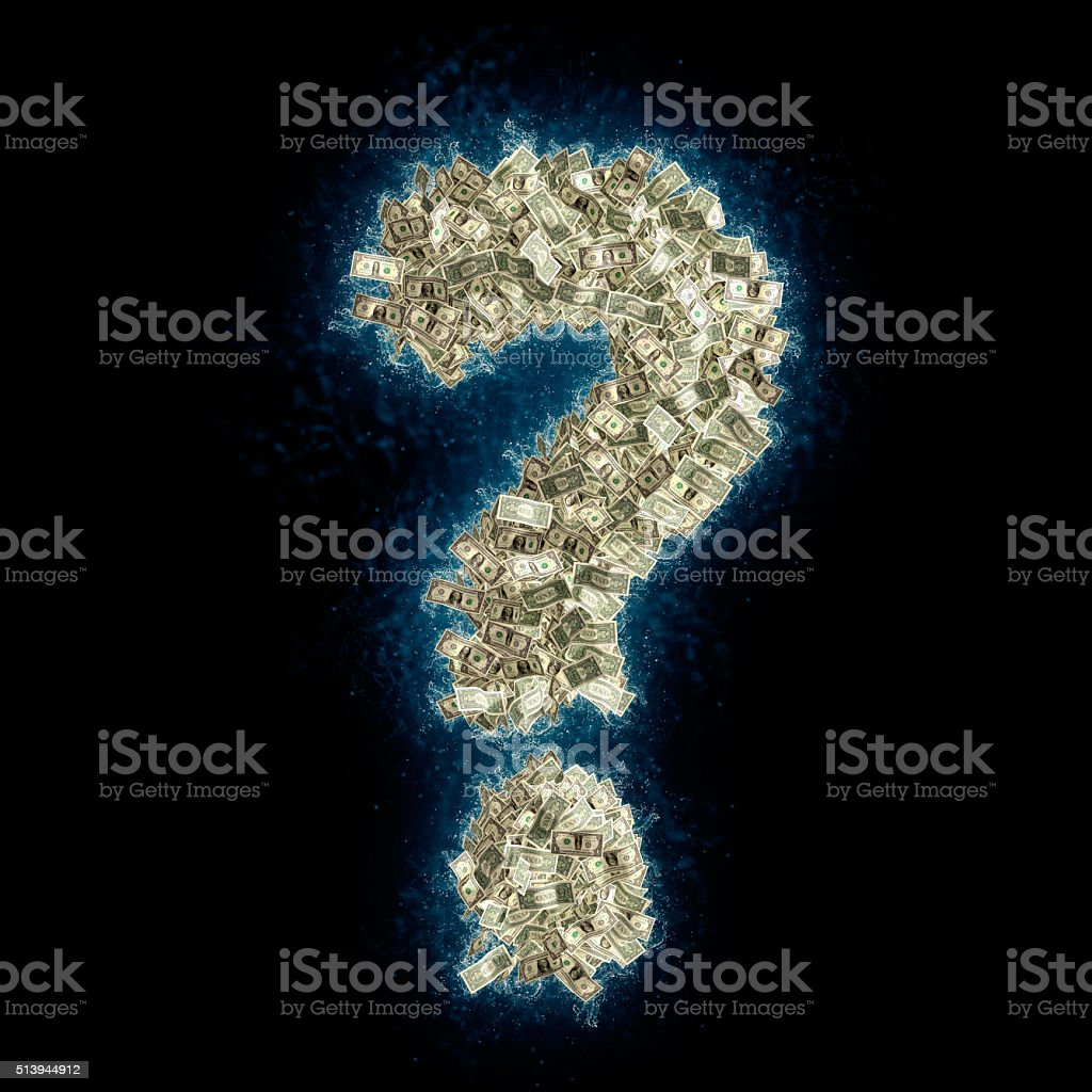 Question mark ? made from Dollar bills - money laundering stock photo