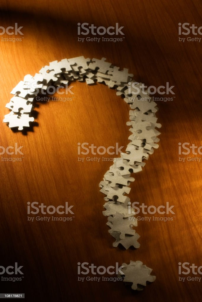 Question Mark Made of Puzzle Pieces royalty-free stock photo