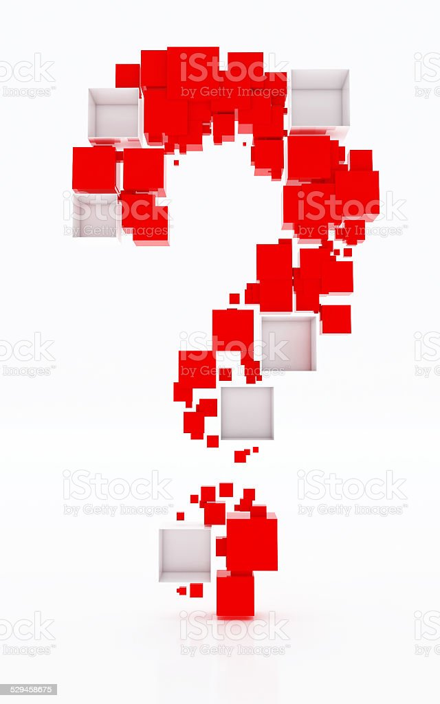 Question mark made of red and white cudes. stock photo