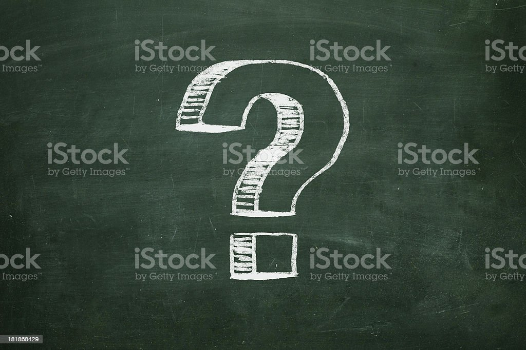 Question Mark On Chalkboard stock photo
