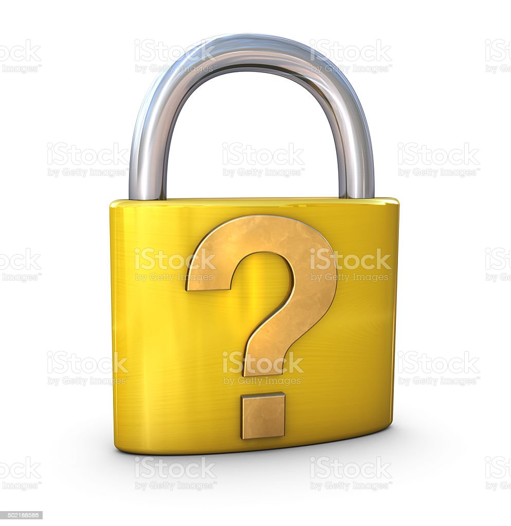 Question Mark on Padlock stock photo