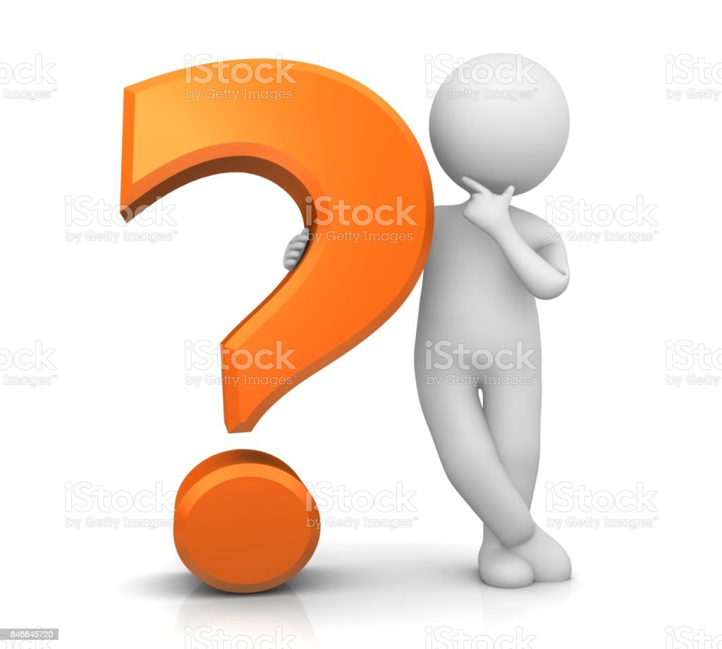 question mark orange 3d interrogation point punctuation mark asking sign query symbol icon with thinking stick man solving problem in relaxed pose isolated on white stock photo