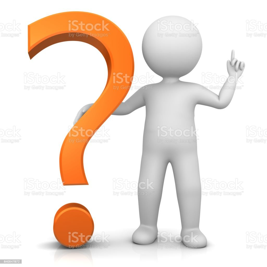 question mark orange 3d interrogation point stick man pointing up hand up isolated on white stock photo