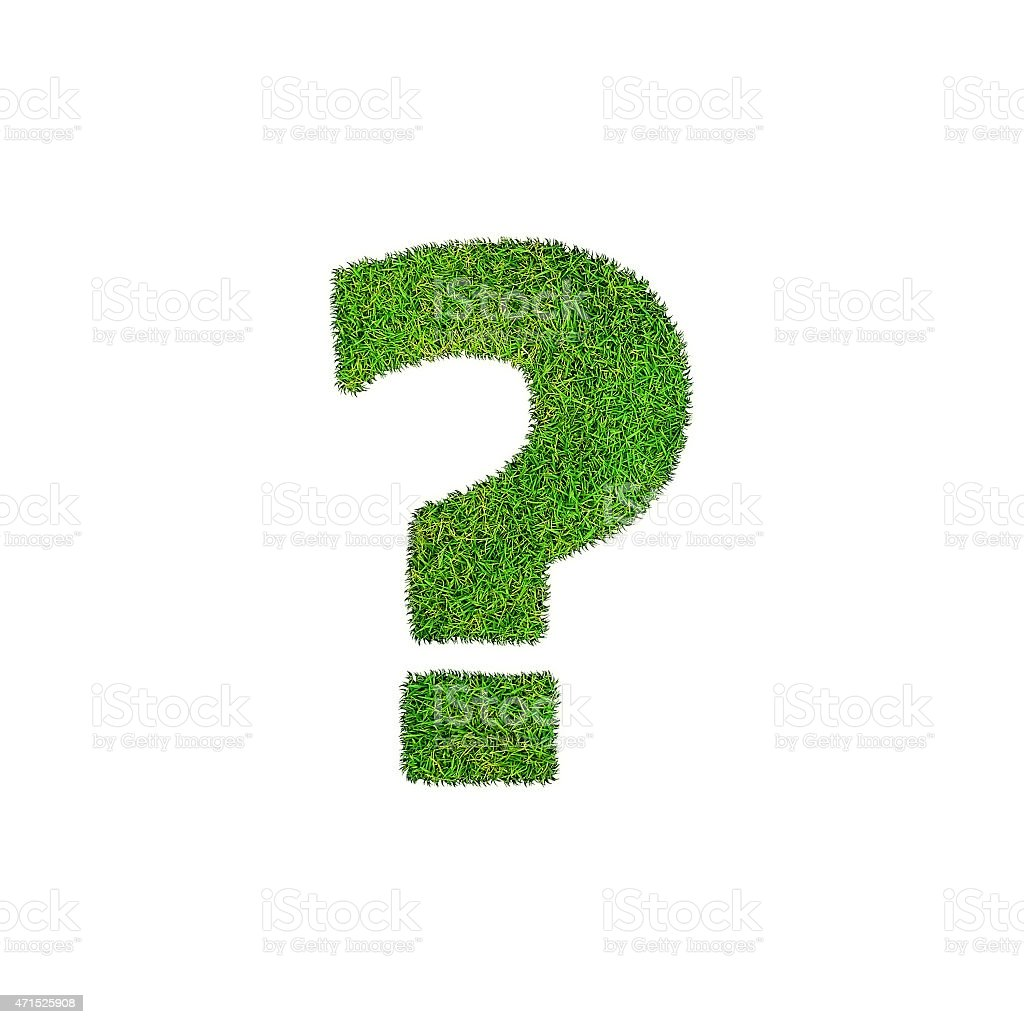 question mark photo realistic isometric projection grass stock photo