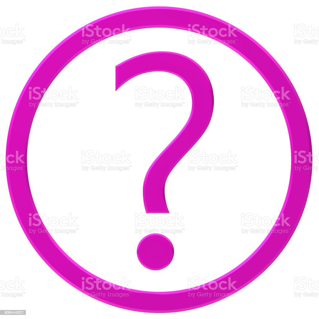 question mark pink 3d interrogation point isolated stock photo