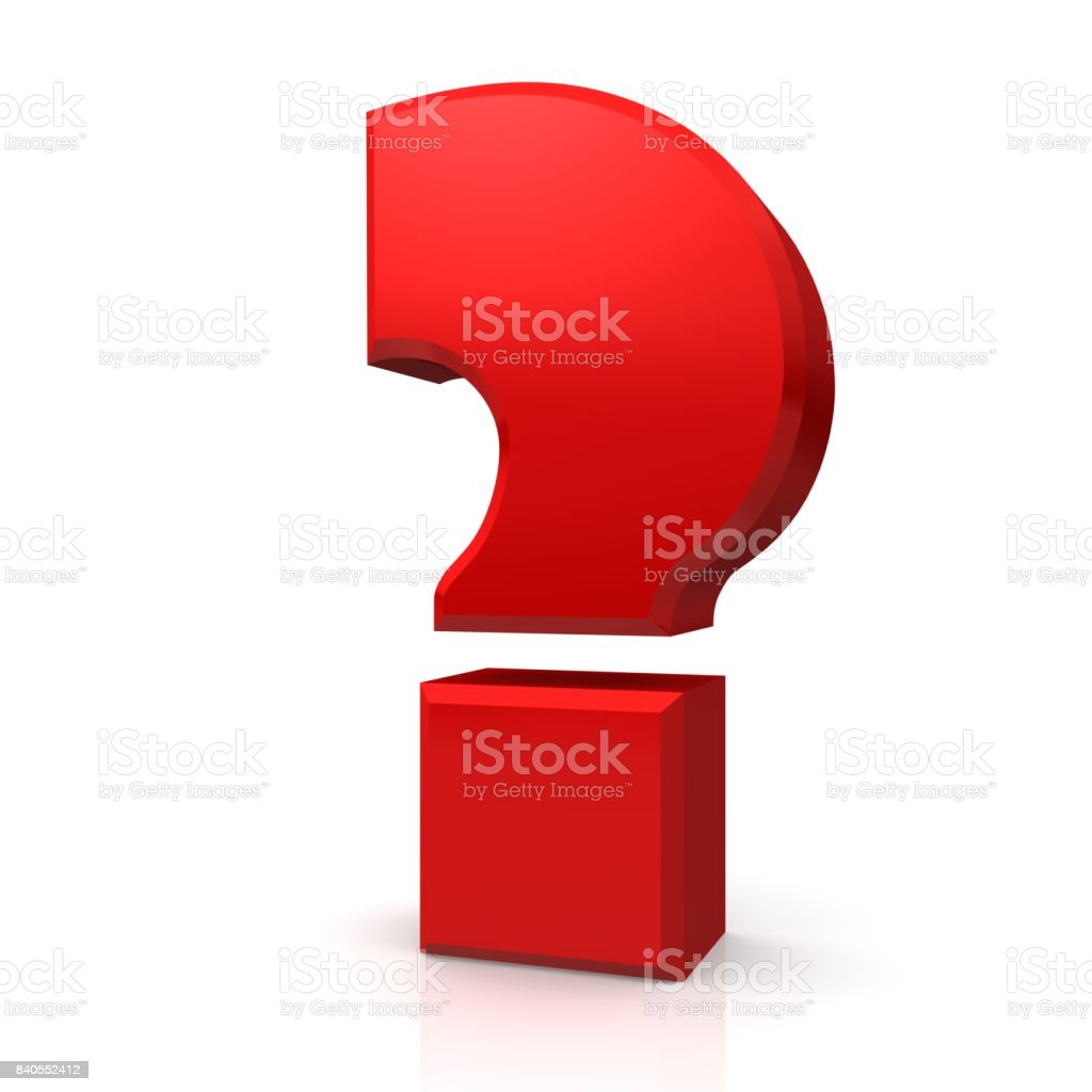 question mark red 3d interrogation point isolated on white stock photo