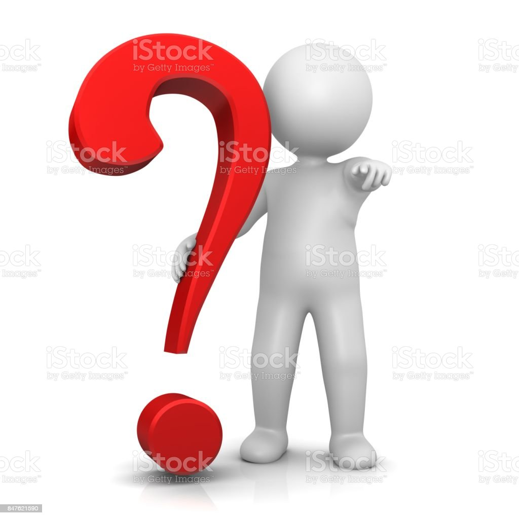 question mark red 3d interrogation point stick man pointing at camera at you isolated on white stock photo