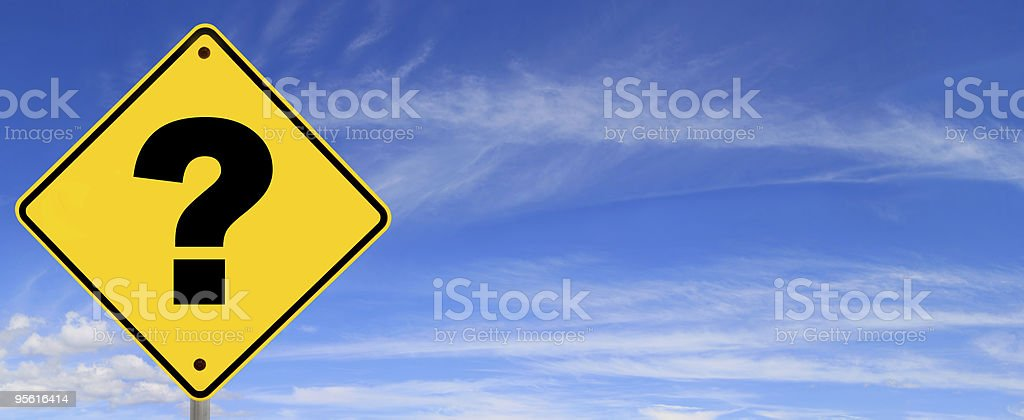 Question Mark Road Sign stock photo