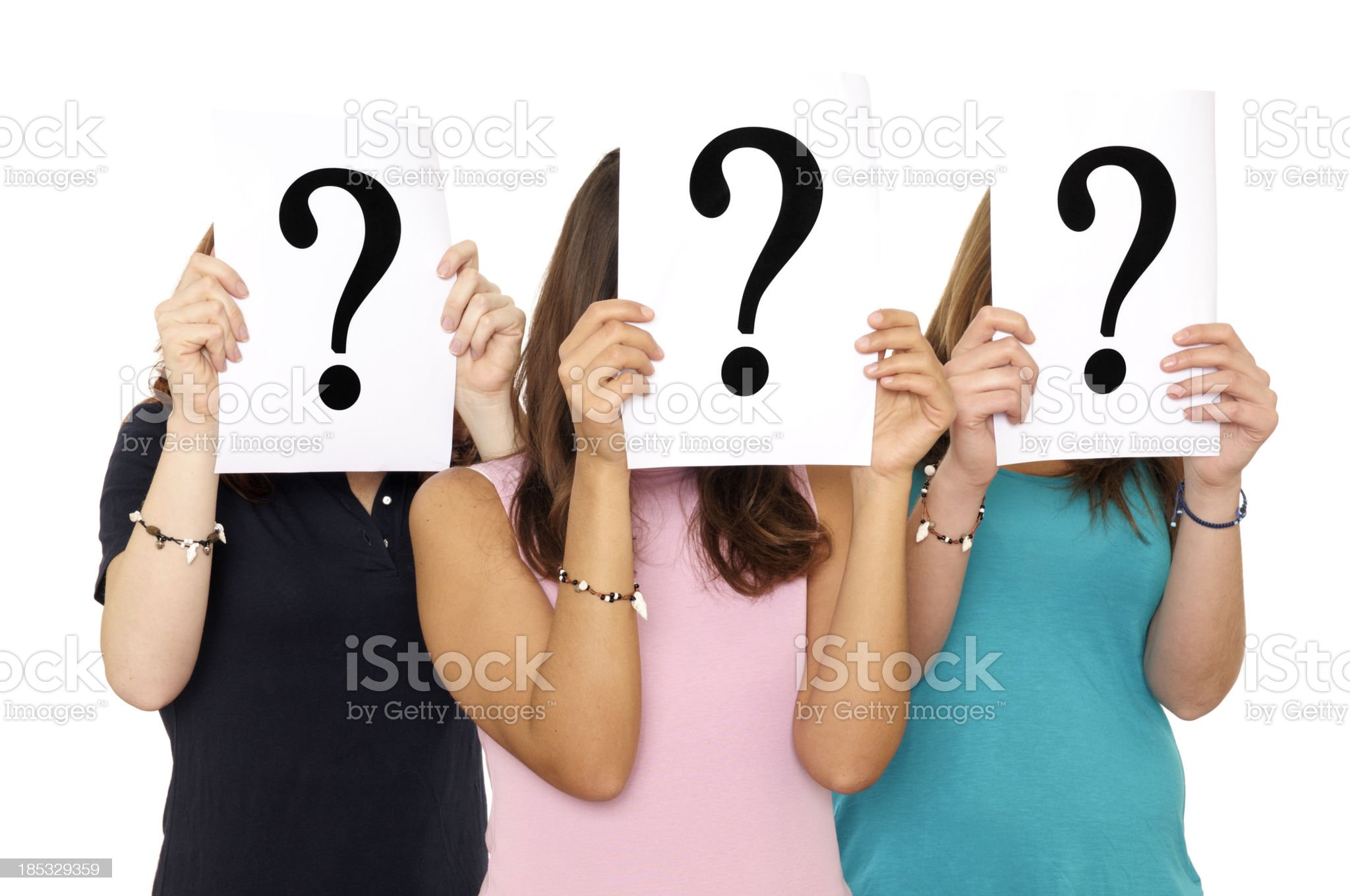 Question Mark Sign In Front Of Face royalty-free stock photo