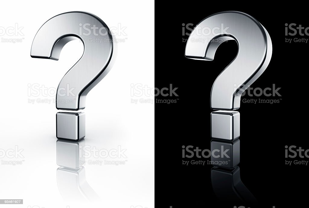 Question mark sign on white and black reflective floor royalty-free stock photo