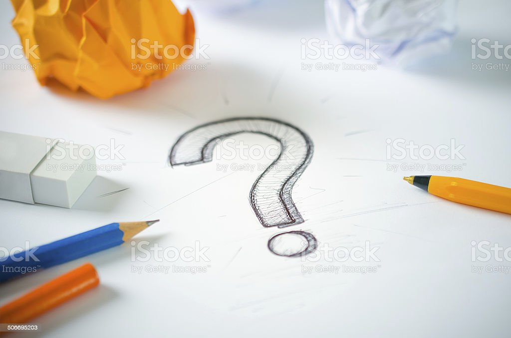 Question Mark Sketch vector art illustration