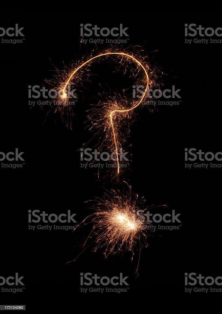 question mark sparkler royalty-free stock photo