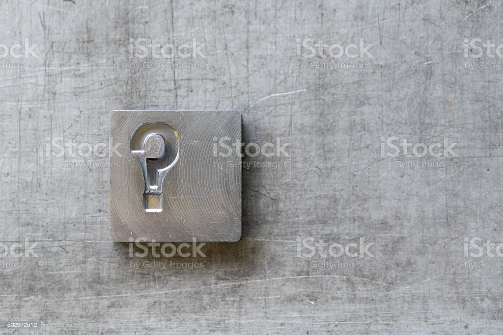Question mark vintage letters from vintage press stock photo