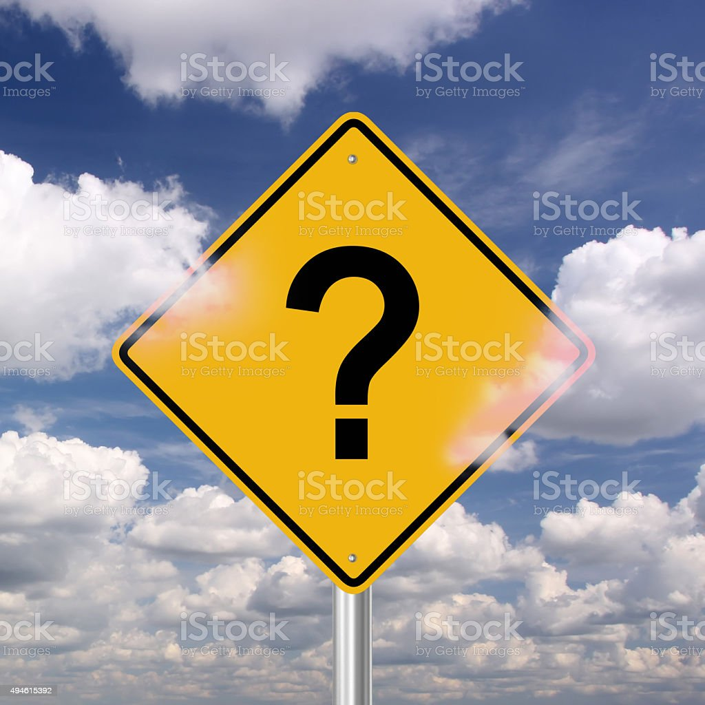 Question mark warning sign stock photo