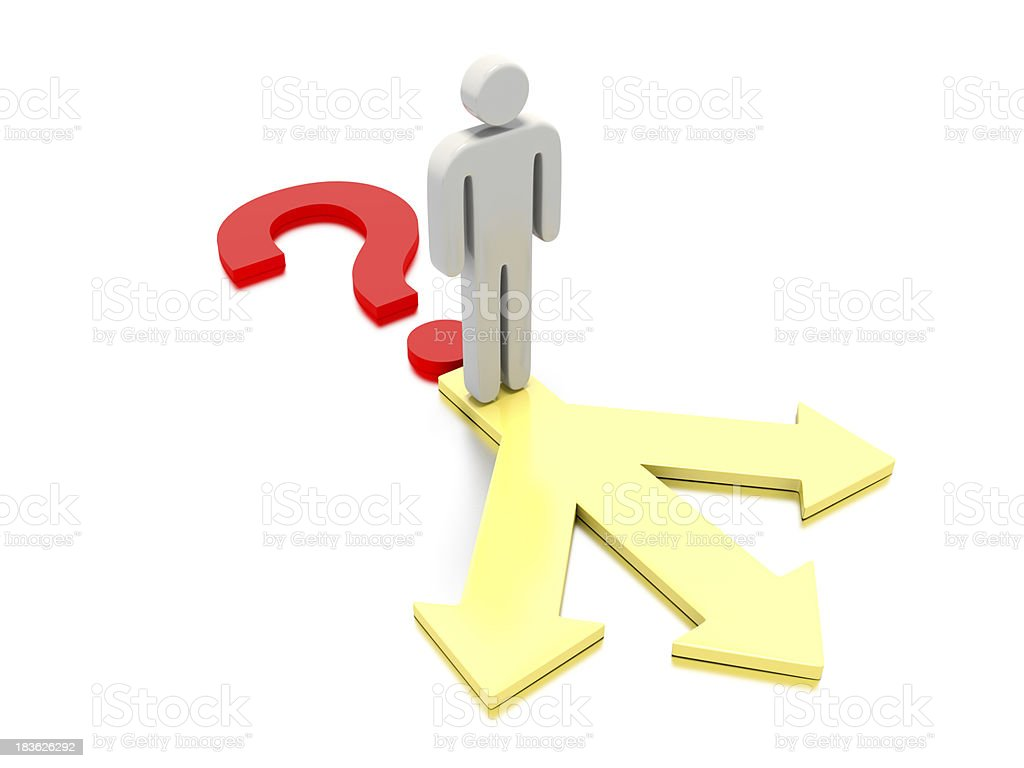 Question mark with a character on top of three arrows. royalty-free stock photo