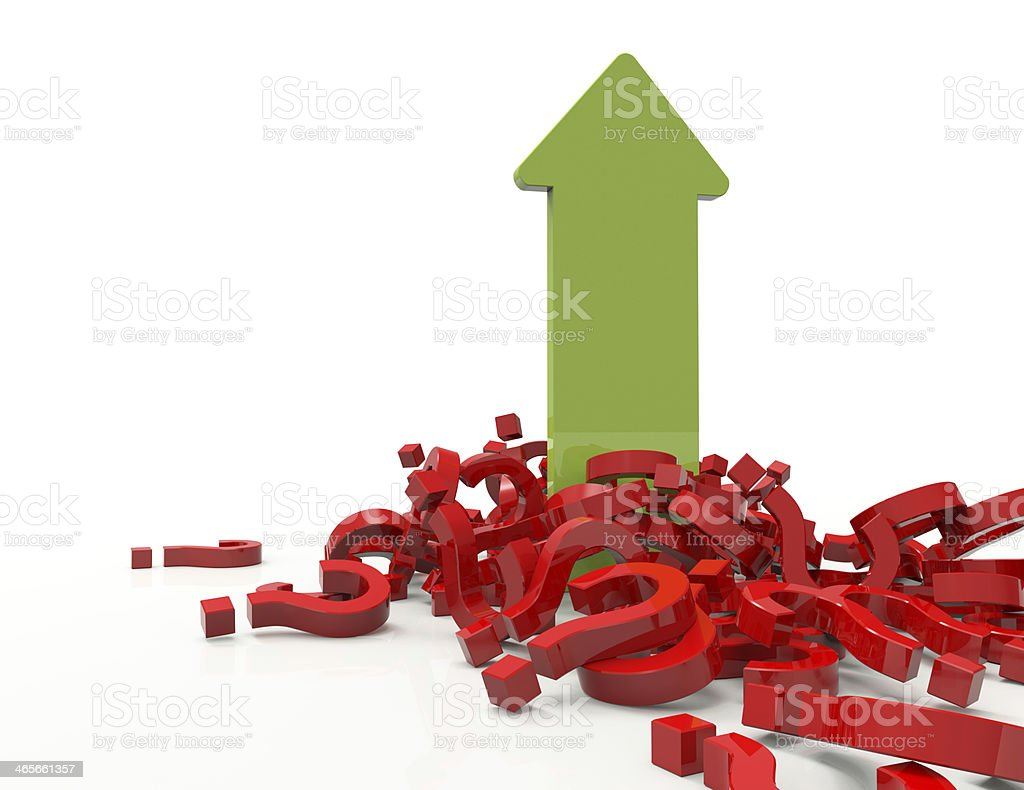 Question mark with arrow stock photo