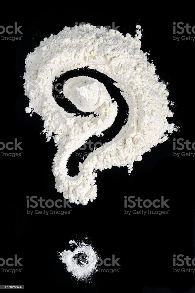 Question Mark Written in Flour royalty-free stock photo