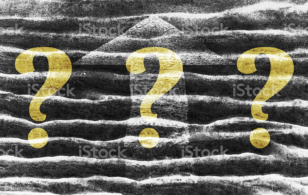 Question marks and arrow stock photo