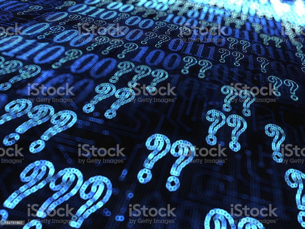 question marks and binary code royalty-free stock photo