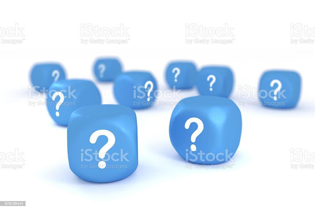Question marks on white background stock photo