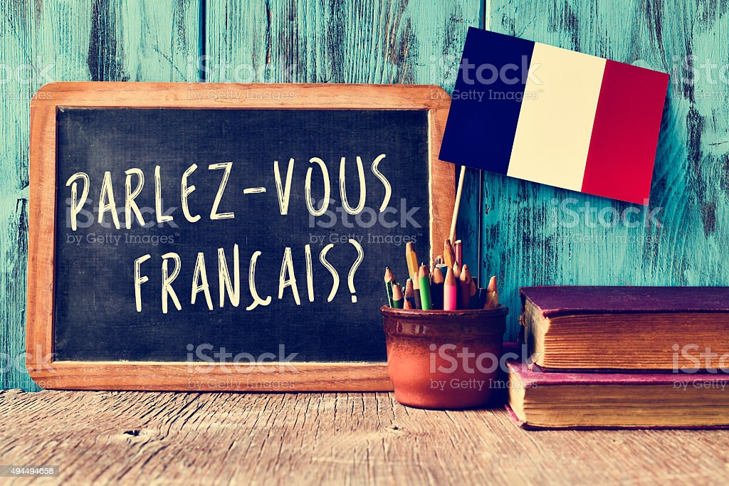 question parlez-vous francais? do you speak french? stock photo