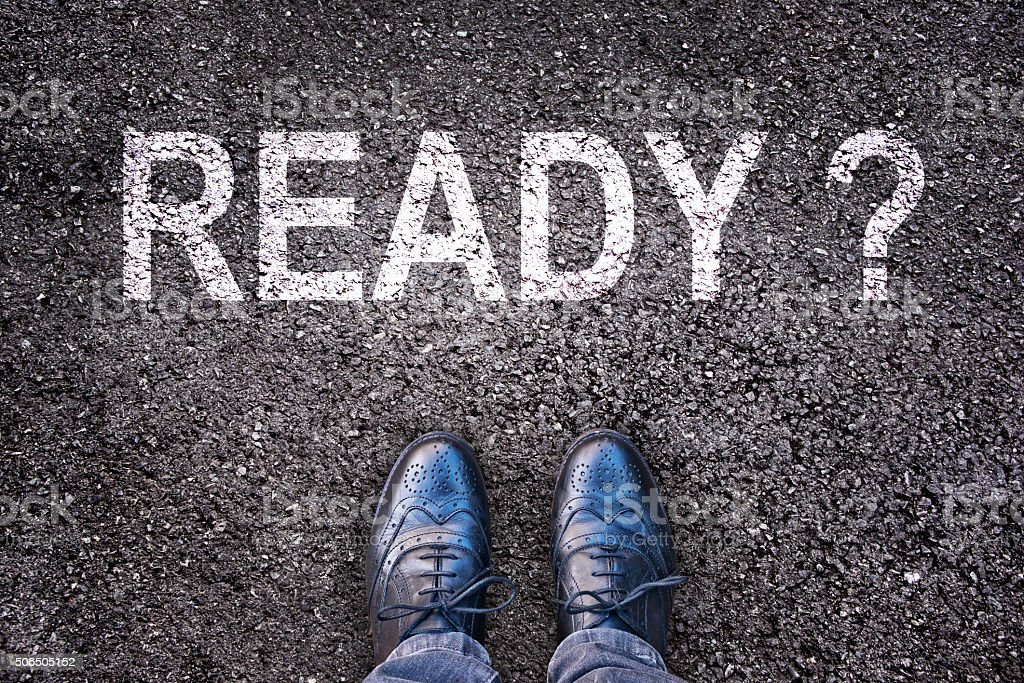 Question Ready ? written on an asphalt road stock photo