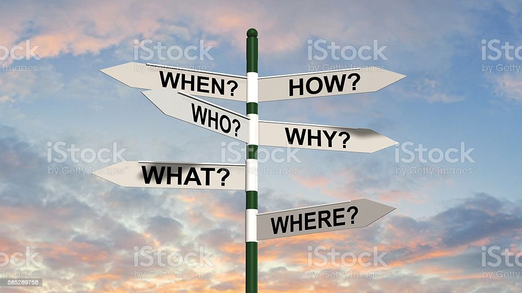 question road sign - questions and researching concept stock photo
