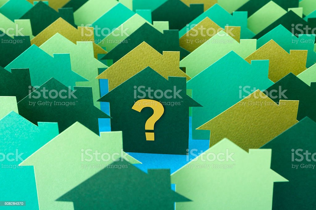 Questioned green house stock photo