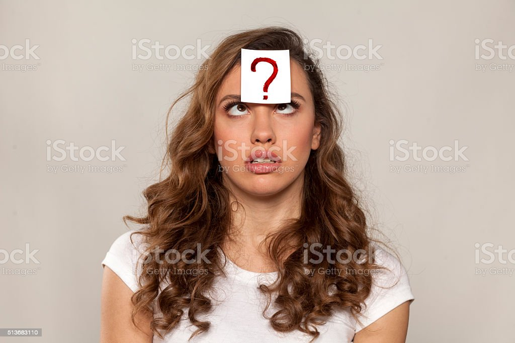 questioning girl stock photo