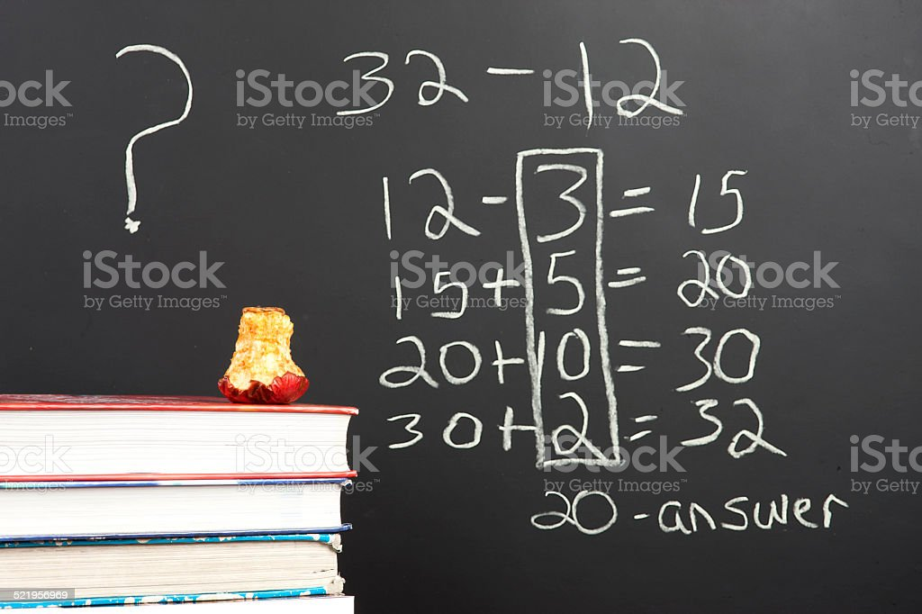 Questioning the new math. stock photo