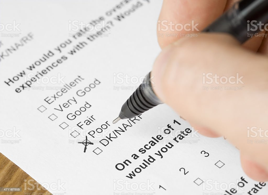 Questionnaire form answered poor royalty-free stock photo
