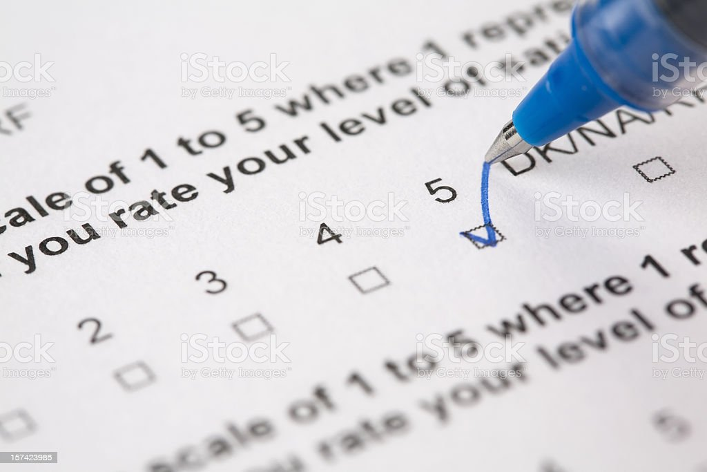 Questionnaire form answering stock photo