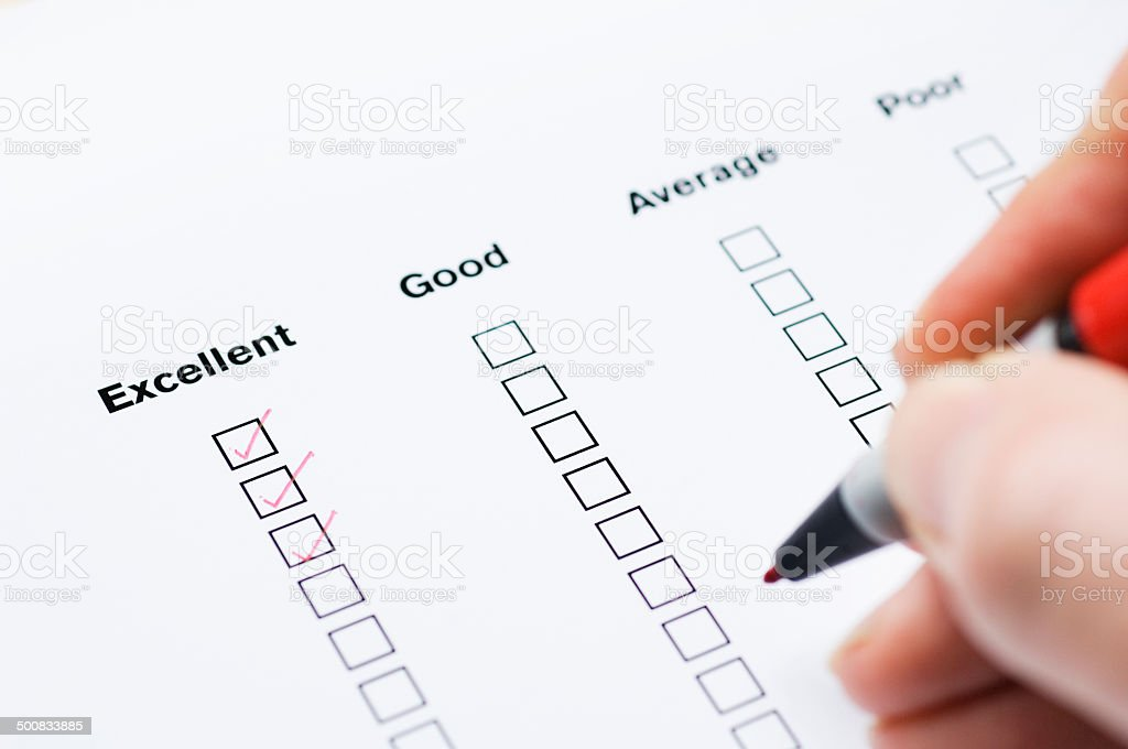 Questionnaire showing positive feedback stock photo