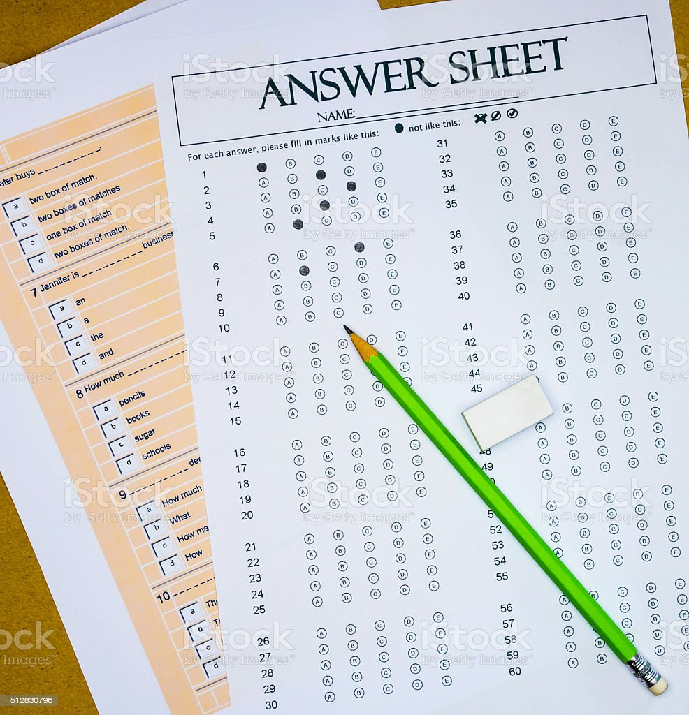 questions and answer sheet stock photo