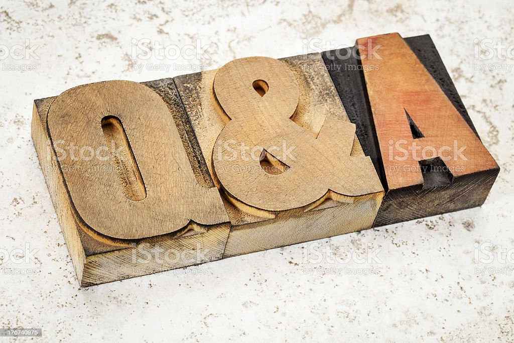 questions and answers in wood type stock photo