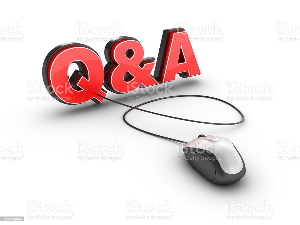 Questions and Answers with Computer Mouse royalty-free stock photo