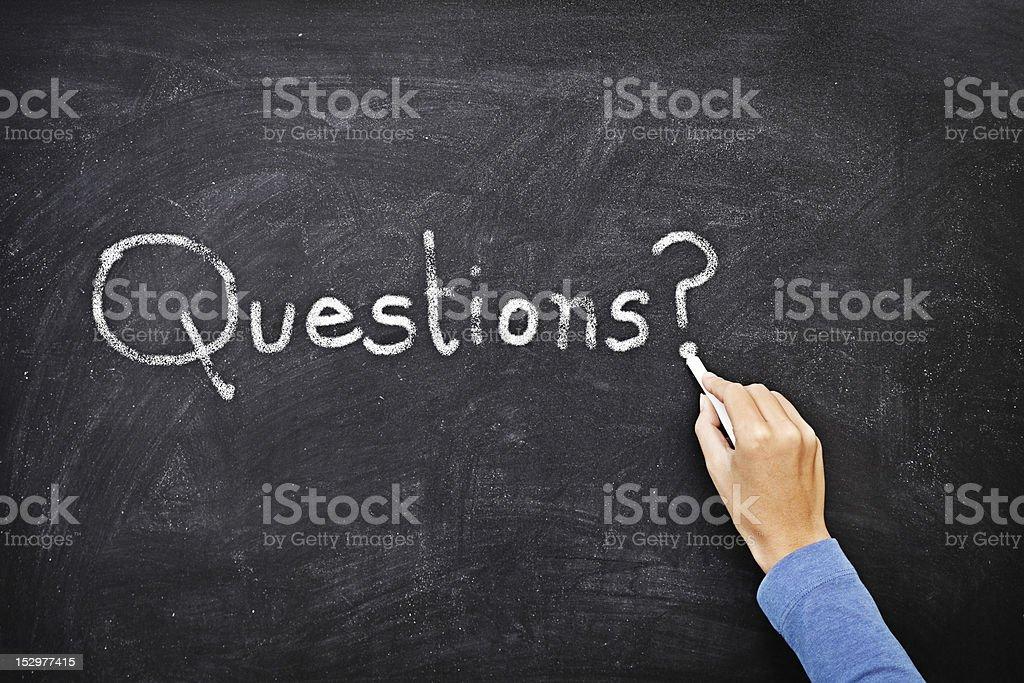 Questions blackboard stock photo