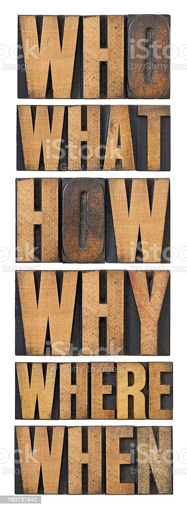 questions in wood type royalty-free stock photo
