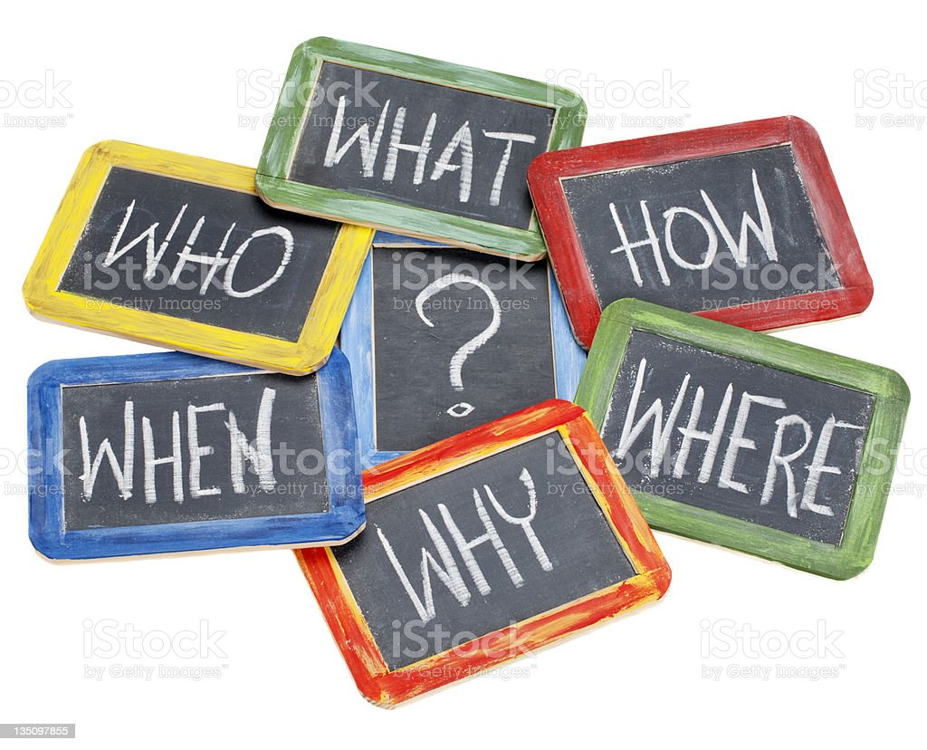 questions or brainstorming concept stock photo