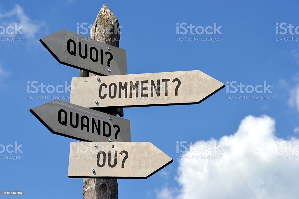 Questions signpost - in French stock photo