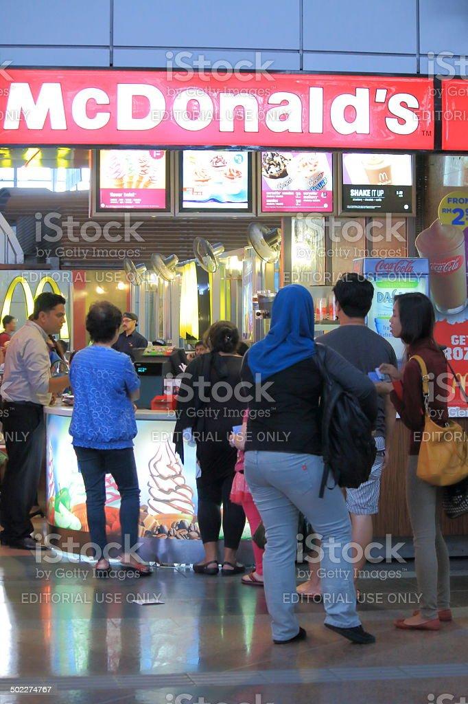 Queue at McDonald's stock photo