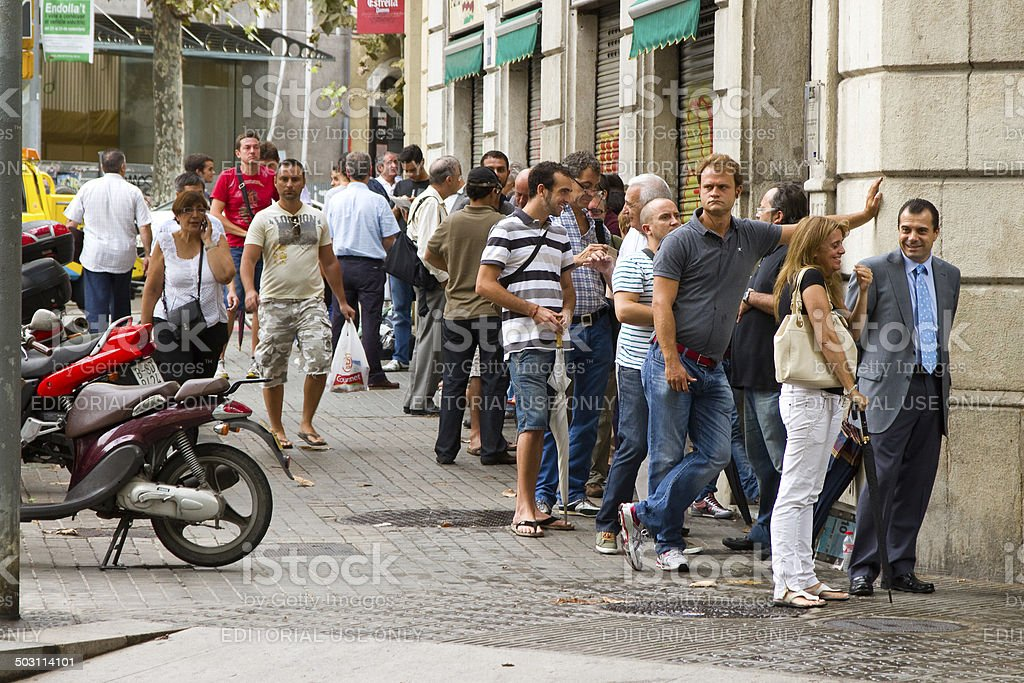 Queue for bullfight tickets stock photo
